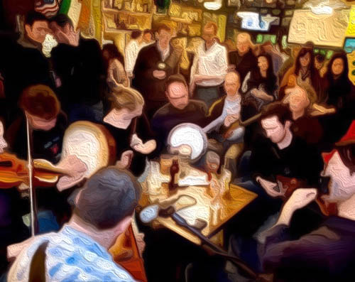 Irish Music Painting Johnny's Pub & Grill